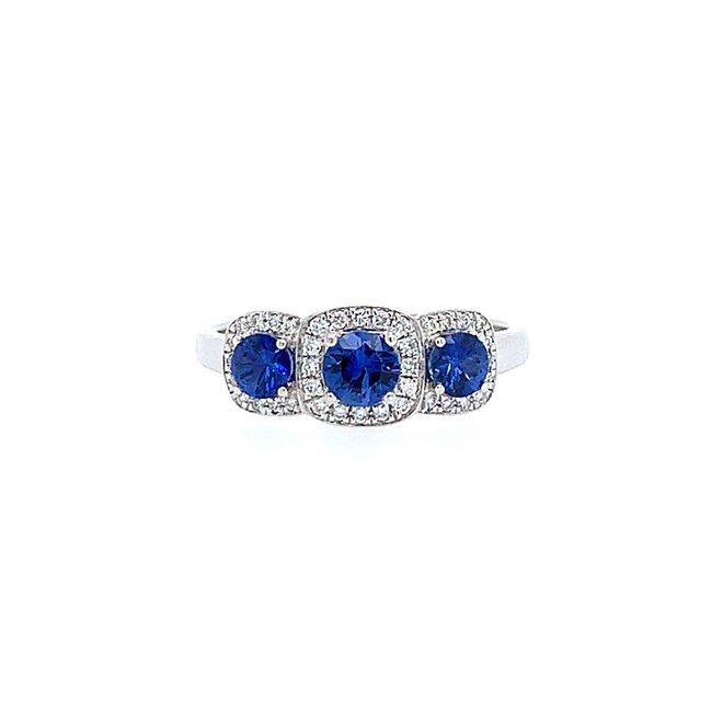 Diamond and sapphire halo trinity ring