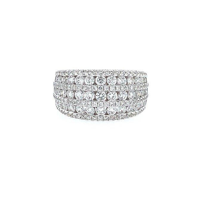 Multi row diamond right hand ring