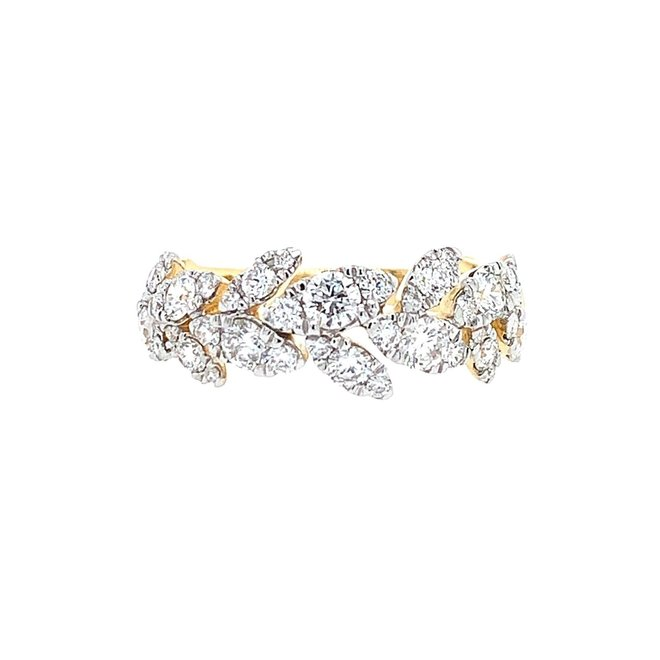 Diamond leaf band-yellow gold