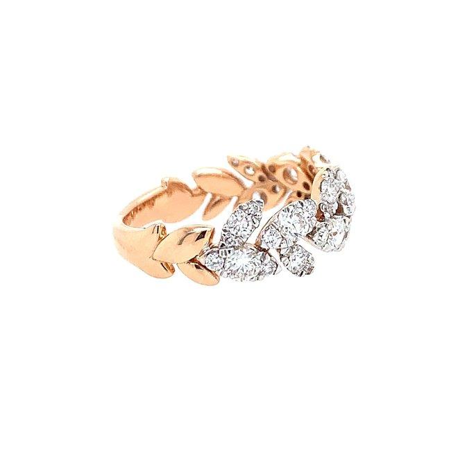 Diamond leaf band-rose gold