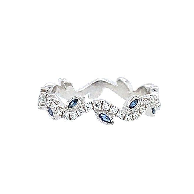Diamond and sapphire leaf band