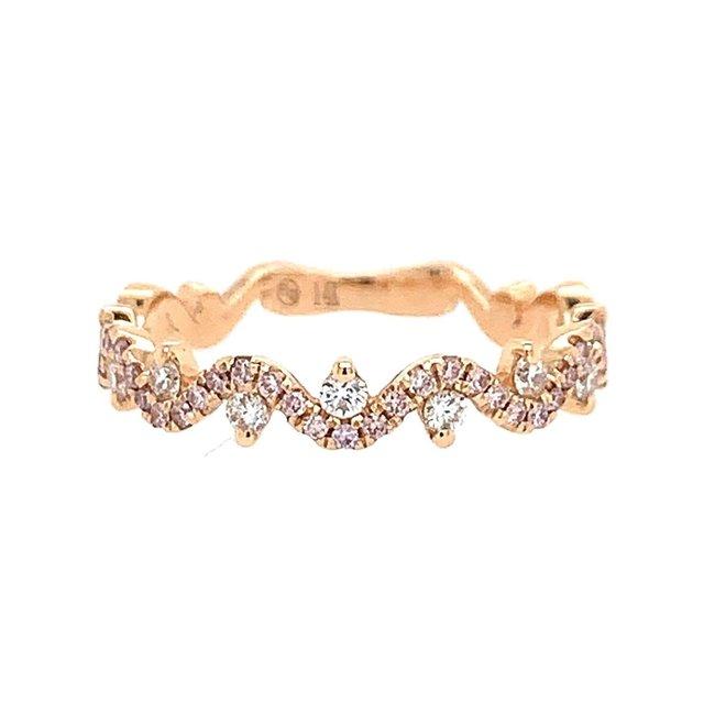 Diamond wave band-rose gold