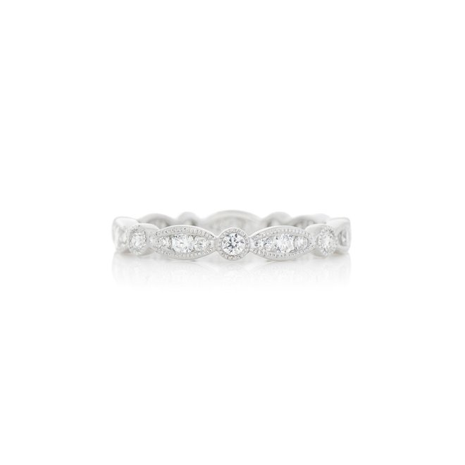 White gold stackable band with milgrain