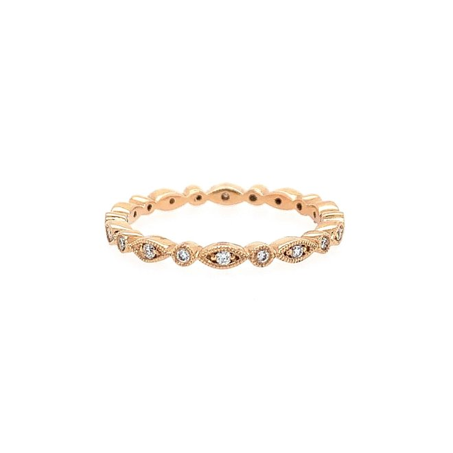 Rose gold pod and bezel diamond stackable band