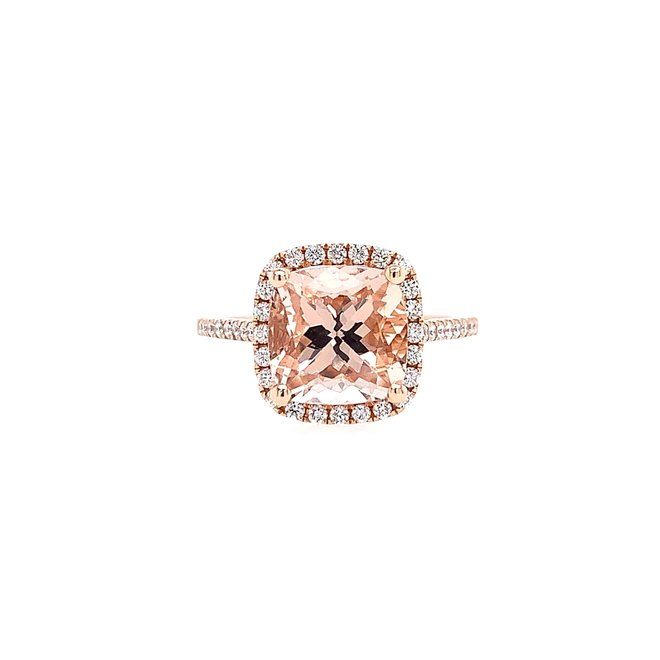 Morganite and diamond ring -medium