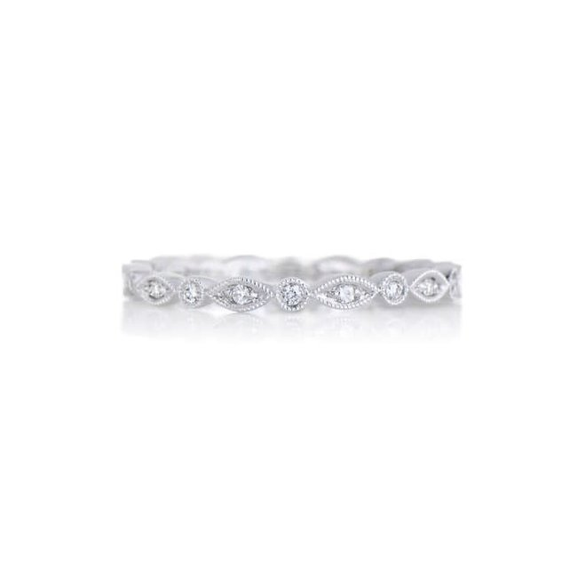 White gold pod and bezel diamond stackable band