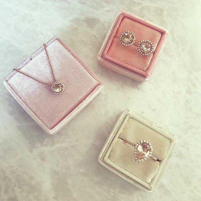 Diamond floating morganite pendant