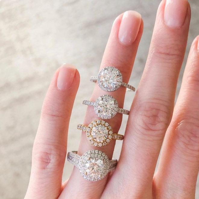 Diamond halo engagement ring - yellow gold