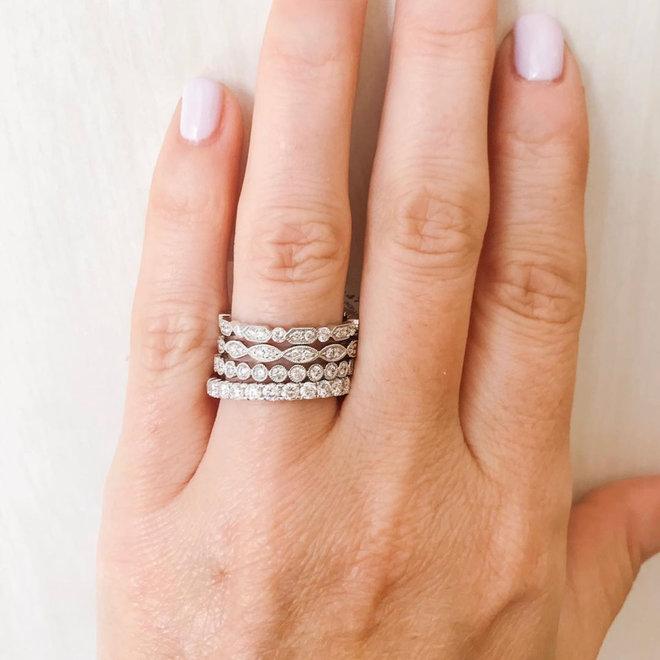 White gold diamond bezel set stackable band