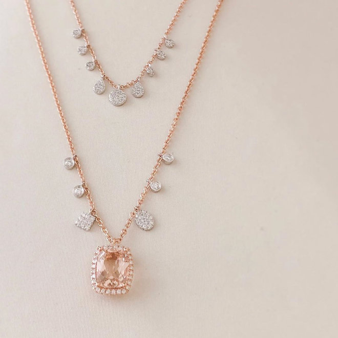 Morganite and diamond pendant with diamond charm accents