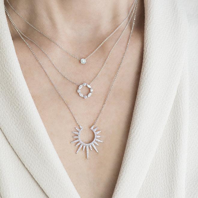 Marquise open circle diamond pendant
