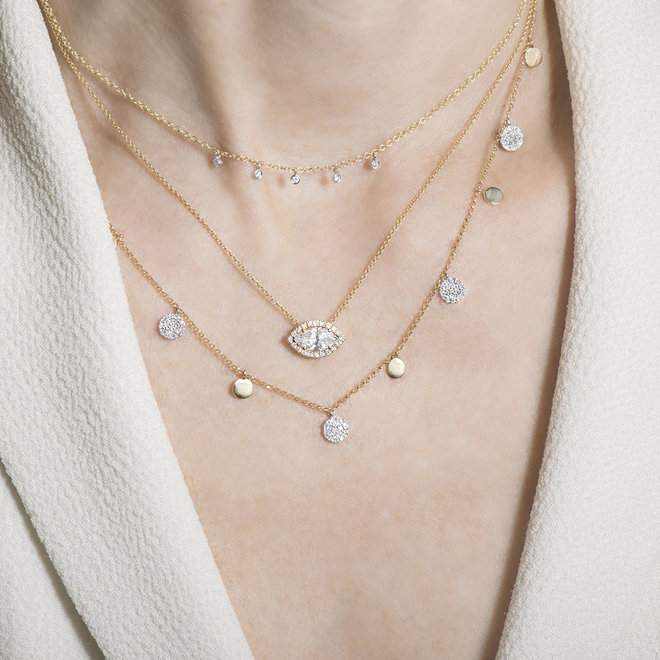 Marquise diamond halo pendant - yellow gold