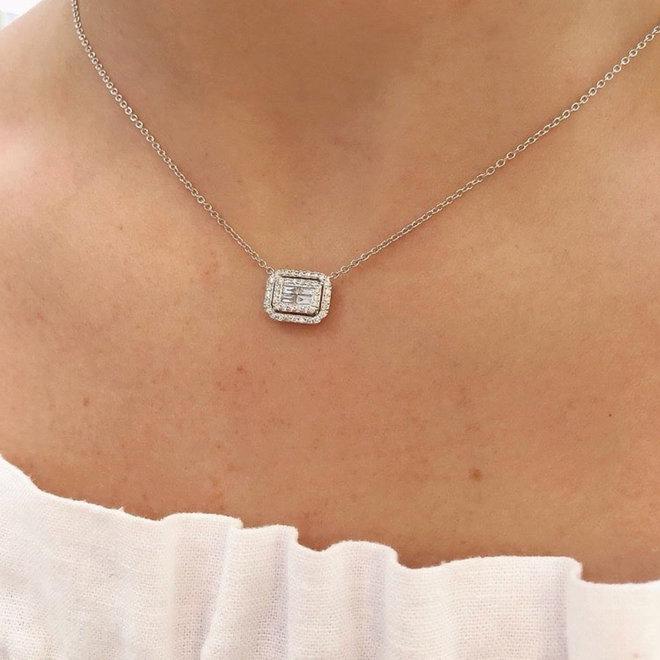 Illusion set double diamond halo pendant
