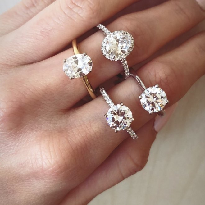The Olivia - custom micro pave set engagement ring