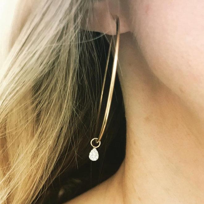 Diamond pear shape hoop charms - pair