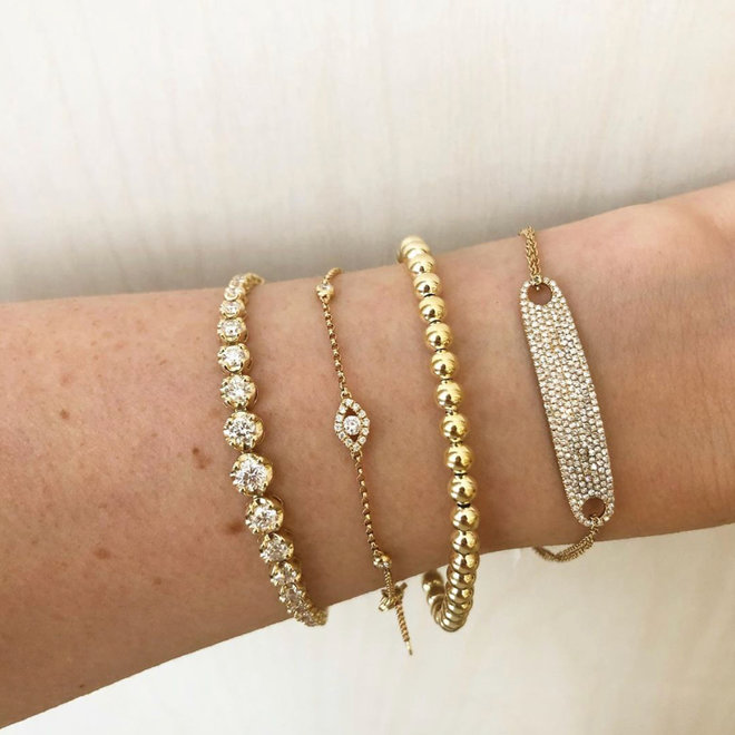 Diamond tag bracelet - yellow gold