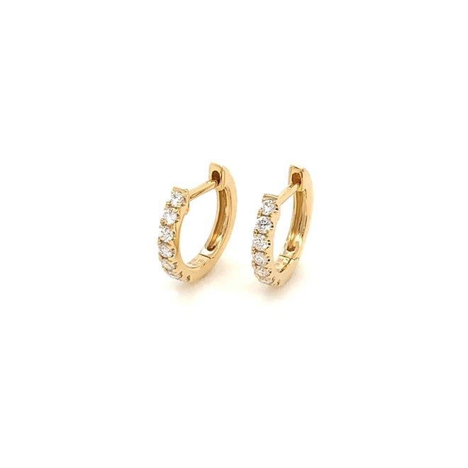 Yellow Gold Diamond Huggie Earrings