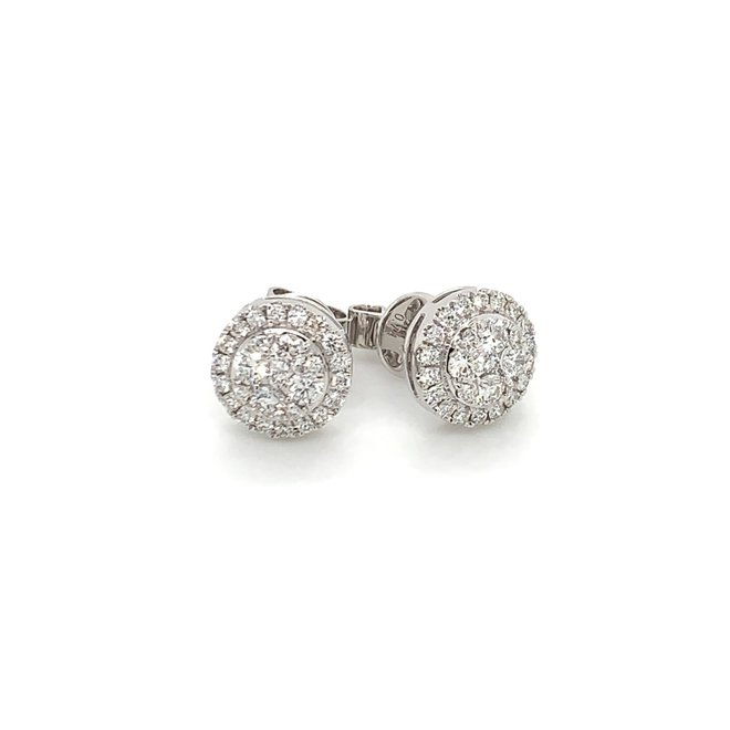 Diamond halo cluster stud earrings