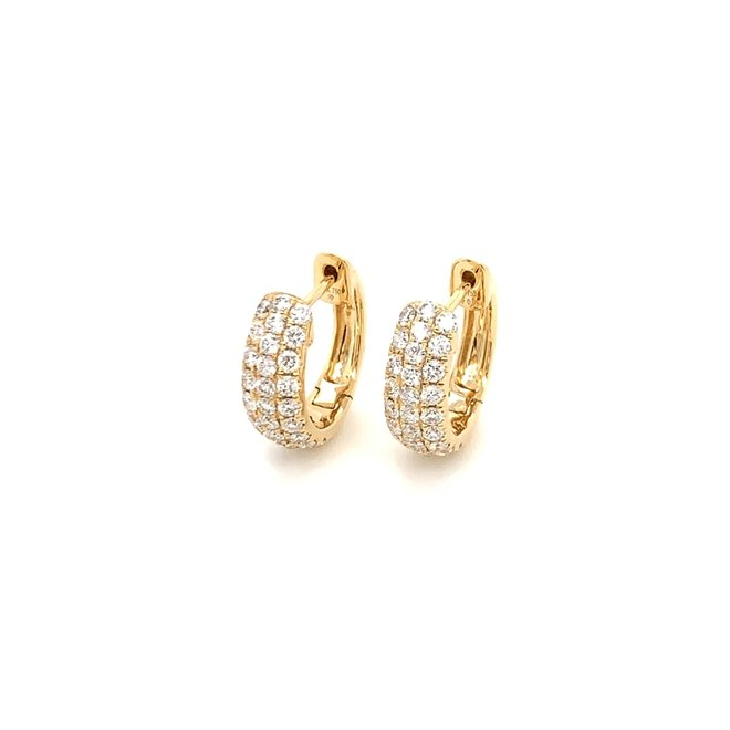 Diamond huggie earrings - yellow gold
