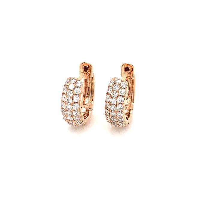 Diamond huggie earrings - rose gold