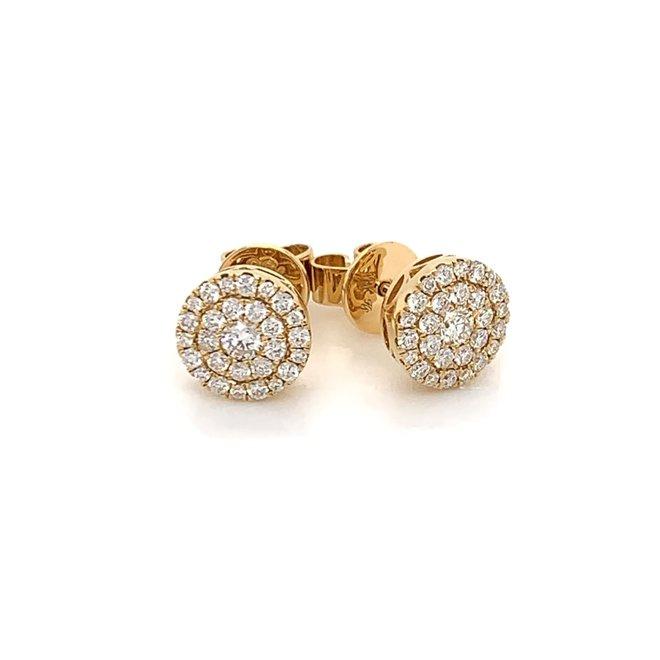 Diamond cluster stud earrings - yellow gold