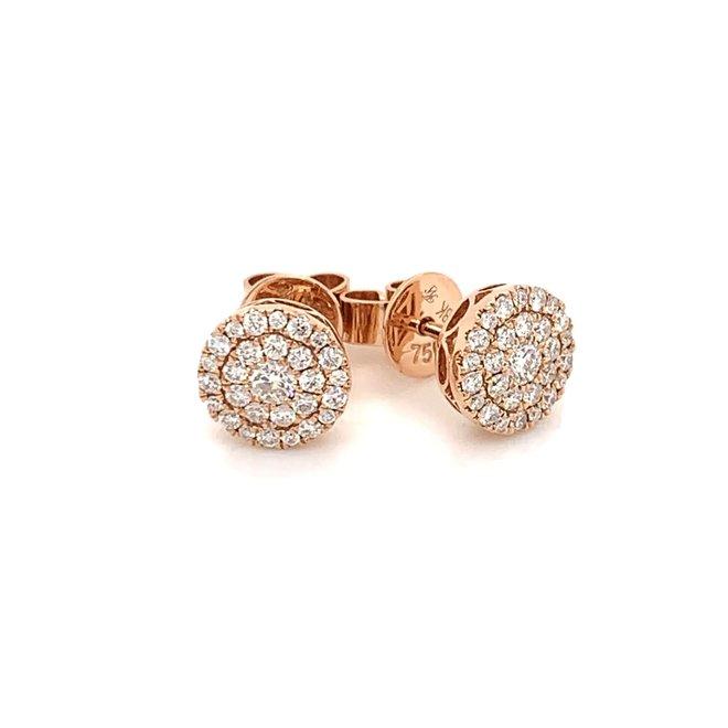 Diamond cluster stud earrings - rose gold