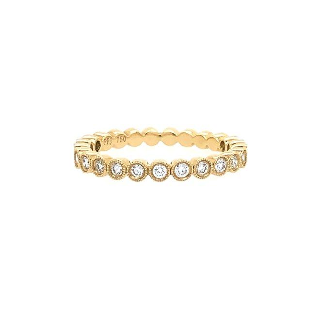 Yellow gold diamond bezel set stackable band