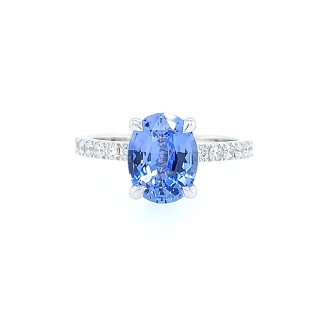 The Mona - blue sapphire and diamond engagement ring
