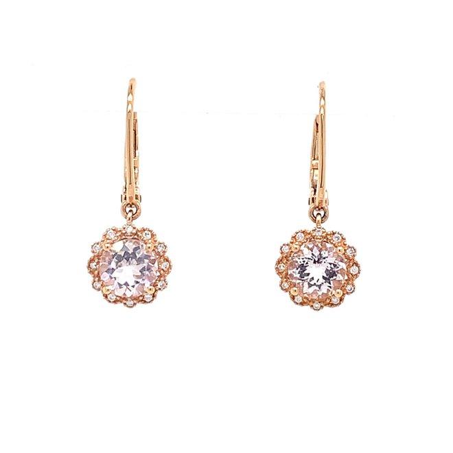 Morganite and diamond drop earrings