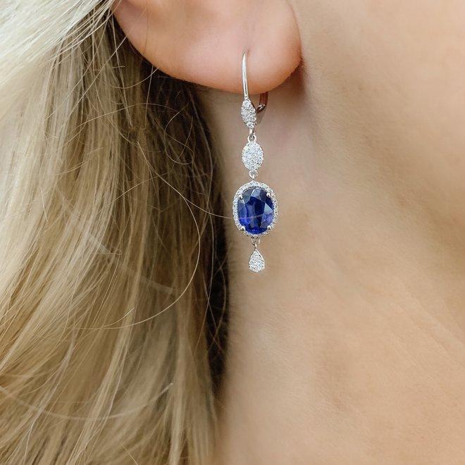 Elegant kyanite and diamond drop earrings