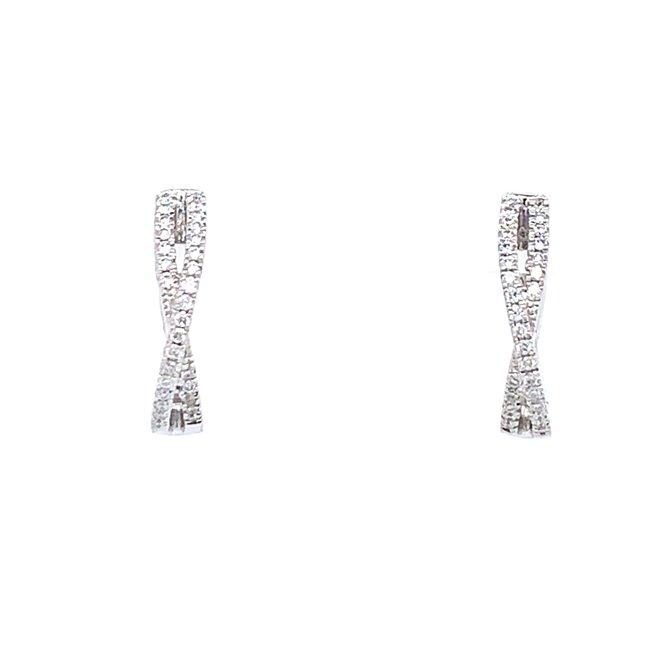 Cross Over Diamond Huggie Earrings
