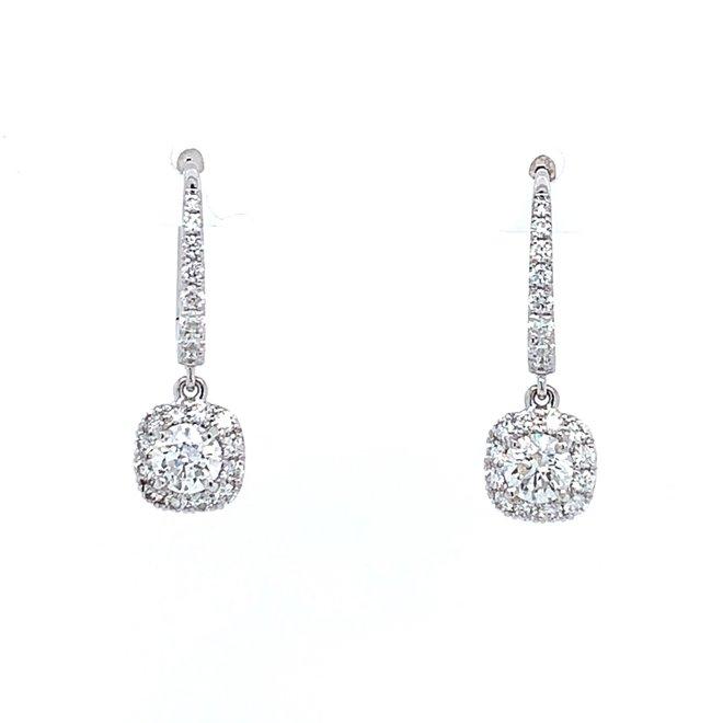 Cushion Shaped Diamond Drop Earrings