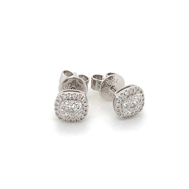 Soft square diamond halo cluster stud earrings