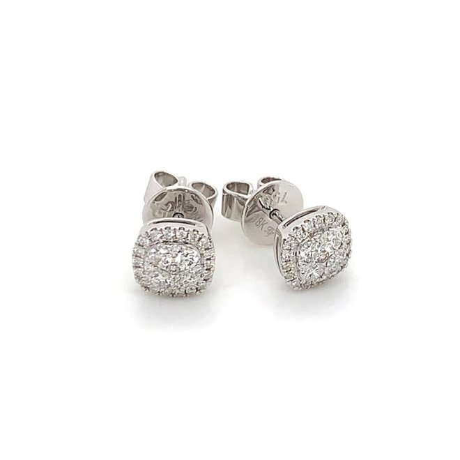 Square Diamond halo cluster stud earrings