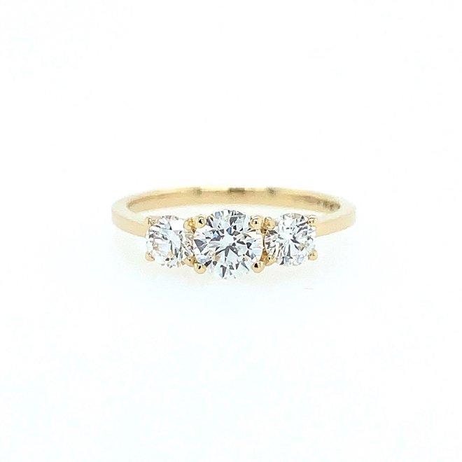 Brilliant cut diamond trinity ring