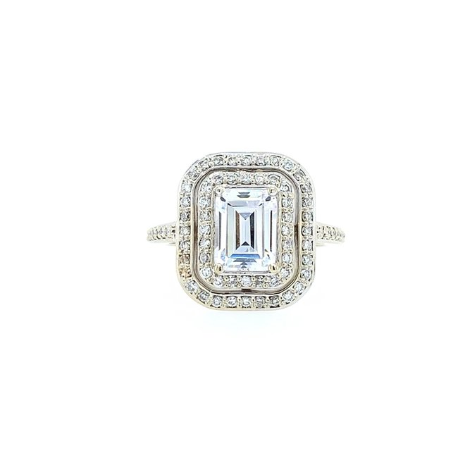 The Harlow - custom double halo emerald cut engagement ring