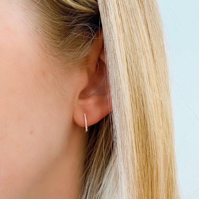 Diamond Huggie Earrings-yellow gold