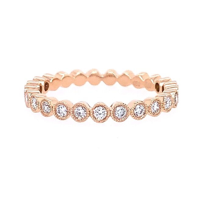 Rose gold diamond bezel set stackable band