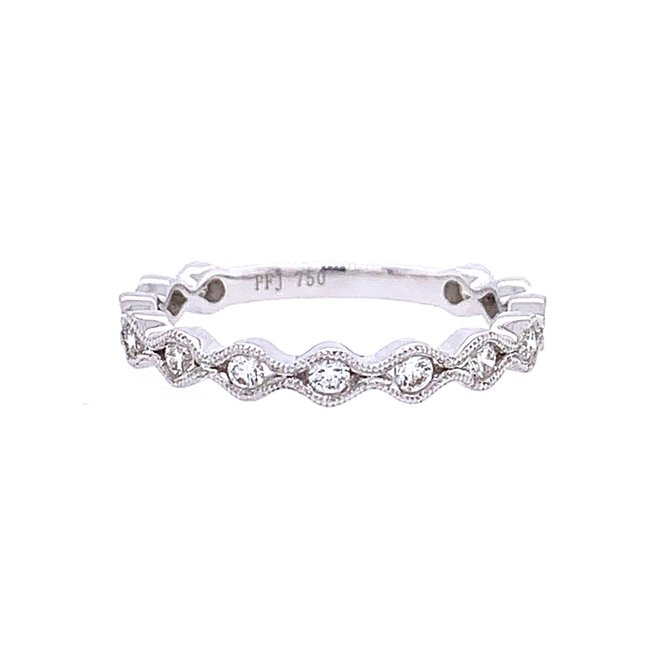 White goldwave diamond stackable band