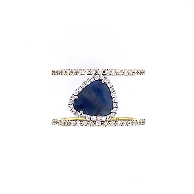 Floating sapphire and diamond band