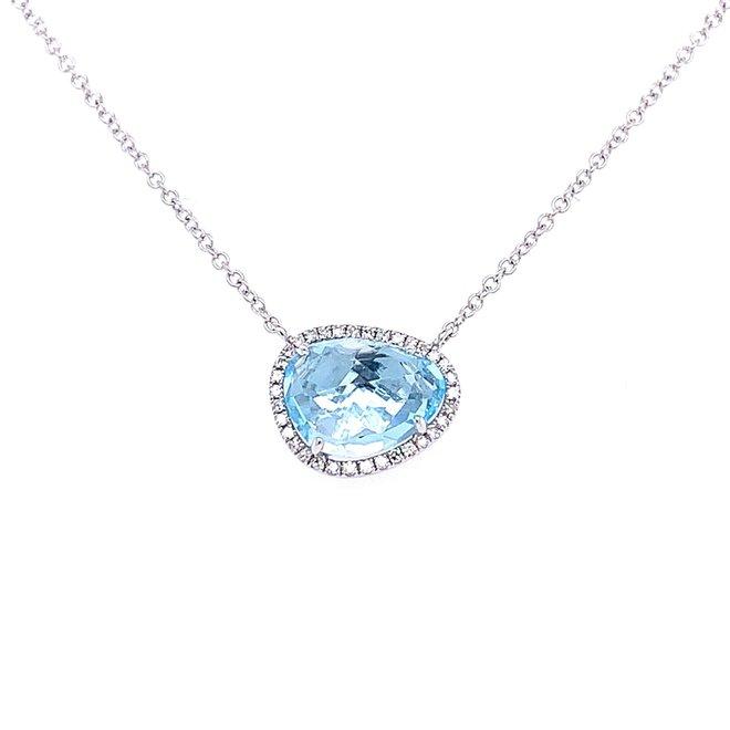 Rose Cut Blue Topaz and Diamond Halo Pendant