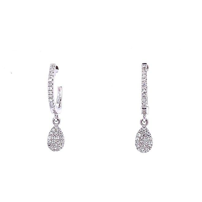 Pear diamond cluster drop earrings