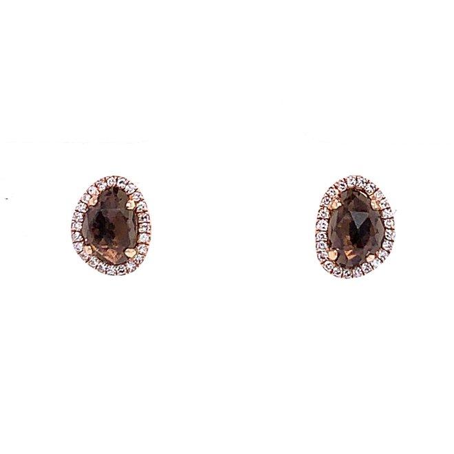 Smokey Quartz And Diamond Halo Stud Earrings