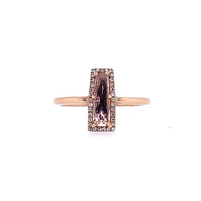 Trapezoid Amethyst And Diamond Halo Ring