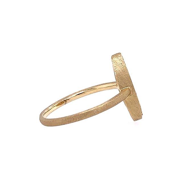 Ladies pear shape gold brushed diamond ring