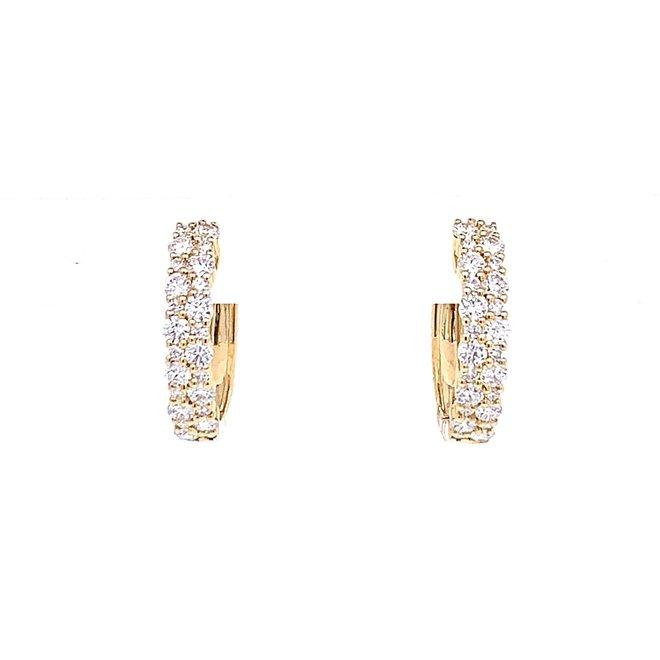 Diamond cluster style hoop earrings