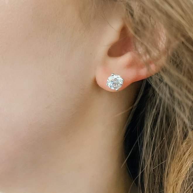 Classic diamond stud earrings - 2.03ct total weight