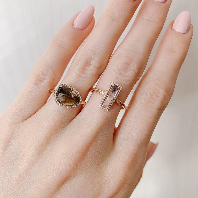 Smokey quartz and diamond halo ring