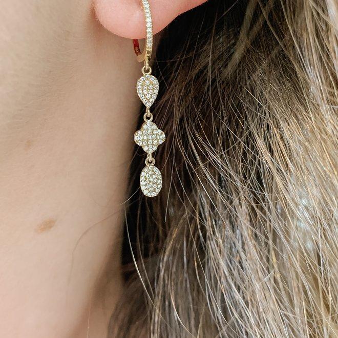 Multi shape diamond drop earrings