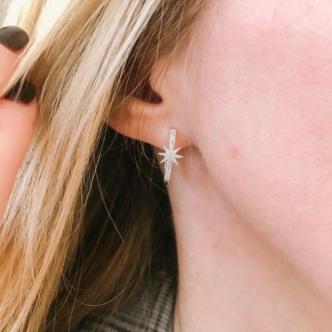 Starburst pave hoop earrings